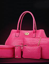 Feminino Couro Ecológico Formal / Casual / Trabalho & Escritório / Compras Bolsa de Ombro / Tote / Bolsa de Mão / Porta MoedasRoxo / Azul