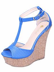 Women's Shoes Wedge Heels Peep Toe Platform Open Toe Sandals Wedding/Office & Career/Party/Dress/Casual Light Blue/Gold