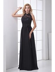 Formal Evening Dress Sheath/Column Halter Floor-length Chiffon Dress