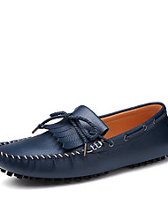 Men's Shoes Casual Leather Boat Shoes Blue/Brown/White