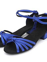 Non Customizable Kids' Dance Shoes Latin/Salsa/Flamenco/Samba Satin/Synthetic Low Heel Black/Blue/Multi-color/Chocolate