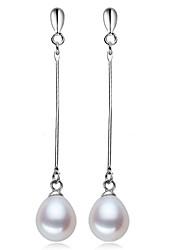 plaqué z & x® 925 simples perle d'eau douce boucles d'oreilles longue chute mariage / fête / jour