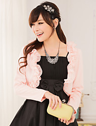 Wedding Wraps Long Sleeve Chiffon/Polyester Sweet Lace Thin Boleros Black/White/Pink Bolero Shrug