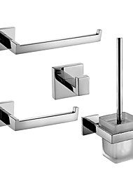 Sets d'accessoire de salle de bain/Anneau porte-serviette/Porte-rouleau WC/Patère de vêtement/Porte-brosse WC - Contemporain - Miroir Poli