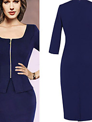 Women's Dresses , Cotton/Knitwear/Roman Knit Sexy/Party ¾ Sleeve K.M.S