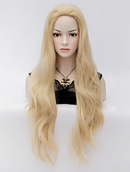 cacheados cabelo dourado pálido ondas grandes na Europa e no temperamento elegante grande peruca