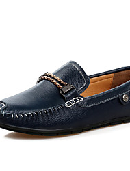 Men's Spring Summer Fall Winter Leather Casual Slip-on Blue