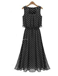 Vestidos ( Gasa )- Casual Redondo Sin Mangas para Mujer