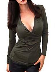 Damen T-Shirt Baumwoll-Mischung Langarm V-Ausschnitt