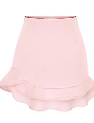 Women's Solid Skirts , Casual Mini Layered/Ruffle