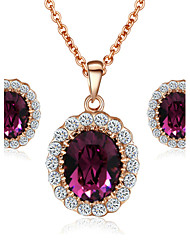 T&C Women's Elegant Cz Diamond Jewelry 18K Rose Gold Pated Amethyst Purple Crystal Pendants Necklaces Earrings Sets