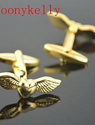 Toonykelly Fashion Gold Plated Fly Love Heart Wing Handsome Shirt Cufflink Button(1 Pair) Cool Watch Unique Watch