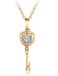 Women's Cute Zircon 18K Gold Plating Key Pendant Necklace