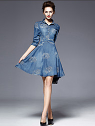 Women's Blue Denim Dress , Vintage/Casual Shirt Collar ½ Length Sleeve Button/Embroidery