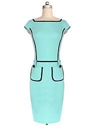 Vestidos(Mistura de Algodão)MULHERES-Bandagem / TrabalhoManga Curta