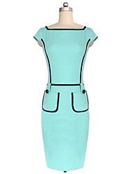 Nikki  Women's Bodycon/Work Short Sleeve Dresses (Cotton Blend)
