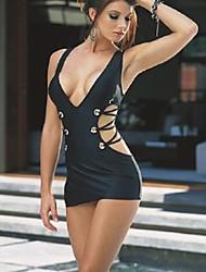 Hot Sexy Dress Lingerie Backless Bandage String Women's Nightwear Black Babydoll Underwear V Neck H-1160