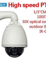 "1/3"" CMOS 1000TVL CCTV Security 6"" Outdoor High Speed PTZ Dome Camera 30X Zoom"