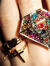 Hipster Fashion Colour Drill Big Gem Ring