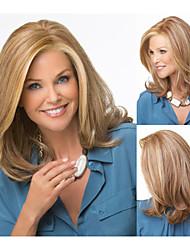 synthétique mode perruques perruques droites de longueur moyenne avec une frange pour les femmes
