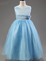 a-line лодыжка длина цветок девушка платье - полиэстер сатин тюль без рукавов совок обруча с цветком на ydn