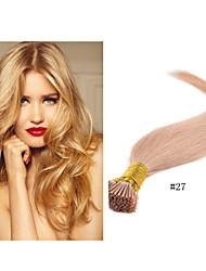 "1pc / extensión del pelo # extensión mucho 18 ""-30"" 1g / strand 100g / pc pro-unido i-tip 27 palillo del pelo de cabello humano brasileño"