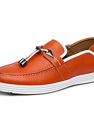 Men's Shoes Casual Leather Loafers Blue/Orange