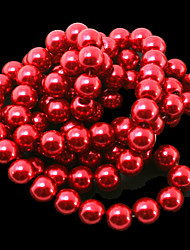 Beadia 2 Str(approx 180pcs) 10mm Round Glass Beads Red Color Imitation Pearl Beads DIY Spacer Loose Beads
