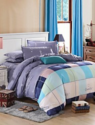 Mingjie City Style Blue Plaid Sanding Bedding Sets 4pcs Duvet Cover Sets Bed Linen China Queen Size and Full Size