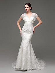 A-line Sweep/Brush Train Wedding Dress -Straps Lace