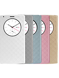 For LG Case with Stand / with Windows Case Full Body Case Geometric Pattern Hard PU Leather LG