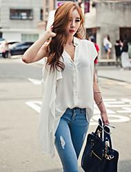 Women's Solid White/Black Blouse , Deep V/Shirt Collar Short Sleeve Button