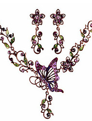 Lusa Vintage Diamonds Butterfly Necklace And Earrings Set