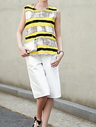 Women's Yellow Blouse , Round Neck Sleeveless