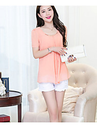 Women's Pink Blouse Short Sleeve