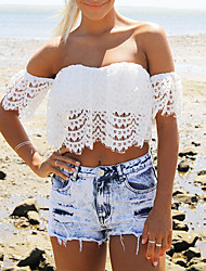 Women's Lace White T-shirt , Sexy/Casual Strapless Short Sleeve Lace
