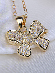 Alloy Jewelry Simple Generous Small Butterfly Gift Box Chain Pendant Necklace