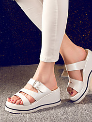 Women's Shoes Wedge Heel Wedges Slippers Dress/Casual White/Beige