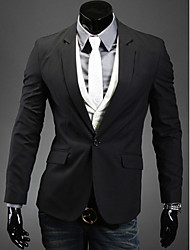 Men's Work/Formal Pure Long Sleeve Regular Blazer (Lycra/Organic Cotton/Polyester)