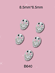 B640 8.5mm*6.5mm Silver Halloween Skull Girl Punk Rock 3D Metal Alloy Nail Art Tips Craft DIY Design 10pcs/lot
