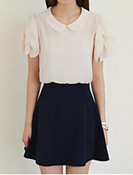 Women's White Blouse , Round Neck/Shirt Collar Short Sleeve