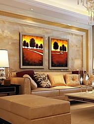 pintura moderna paisagem abstrata mão pintado óleo de linho natural com esticada enquadrado - conjunto de 2