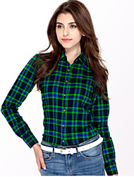 JAMES Autumn Women's  Flannel Long Sleeve Shirt/ Blouse with Green Plaids & Checks Casual Fashion