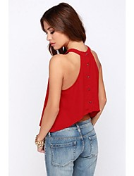 Women's Casual Inelastic Sleeveless Short Vest (Chiffon)