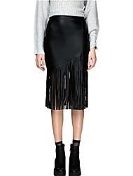 Women's Sexy PU Leather Tassel Hem Zipper Open High Waist Bodycon Skirts