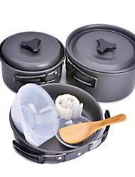 CleanMate ly20150612032 olla camping y pan conjunto al aire libre 8-en-1 portátil - negro