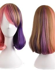 Heat Resistant Cheap Short Pink Mix Purple Ombre Wigs Synthetic Hair Perucas Cosplay Two Tone Anime Sakurai Yuki Wig