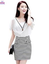 Women Ladies Summer Lotus Sleeves Stripes Slim Dresses Clothes