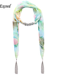 D Exceed   Ladies Summer Match Fashion Print Floral Chiffon Scarves Necklaces with Tassel Light Green Jewelry Scarf