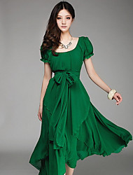 Women's Round Dresses , Chiffon Casual/Party Short Sleeve Gerry